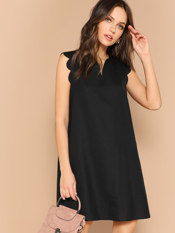 V-Neck Scallop Trim Trapeze Dress