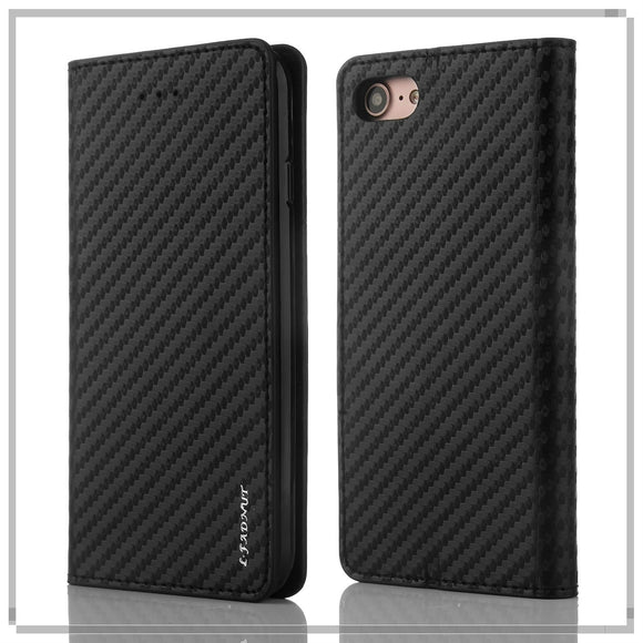 Luxury Ultra Thin Flip Magnetic Carbon Fibre Bussiness Leather Case Elegant Vintage Wallet Card Slot Cover For Apple iPhone X 8