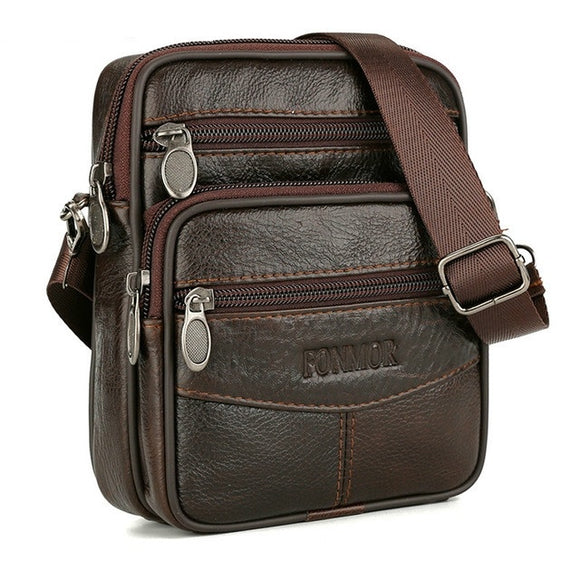 Men's Waterproof Causal Crossbody Bag 100% Genuine Leather Belt Bag Large Capacity Shoulder Bag