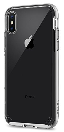 Spigen Neo Hybrid Crystal iPhone X Case with Clear Hard Casing and Reinforced Hard Bumper Frame for Apple iPhone X (2017) - Satin Silver