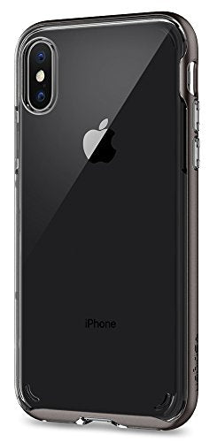 Spigen Neo Hybrid Crystal iPhone X Case with Clear Hard Casing and Reinforced Hard Bumper Frame for Apple iPhone X (2017) - Gunmetal