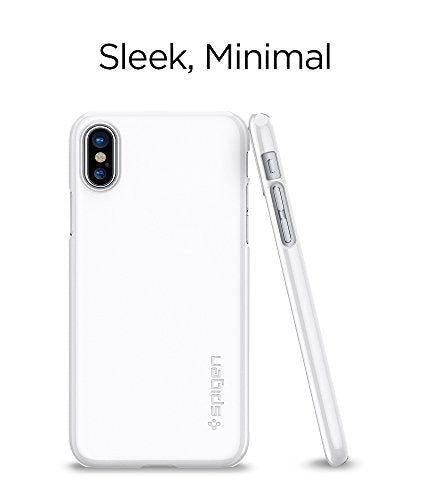 the latest 0e6a0 a555f Spigen Thin Fit iPhone X Case with Premium Matte Finish Coating and QNMP  Compatible for Apple iPhone X (2017) - Jet White