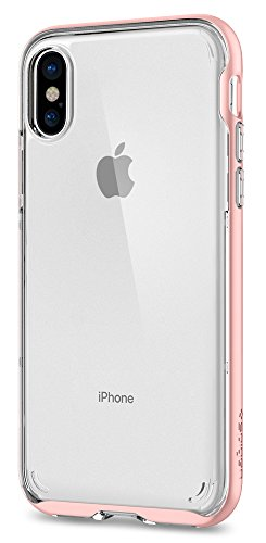 Spigen Neo Hybrid Crystal iPhone X Case with Clear Hard Casing and Reinforced Hard Bumper Frame for Apple iPhone X (2017) - Blush Gold