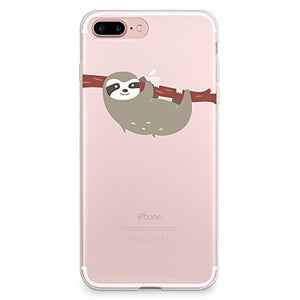iPhone 8 Plus Case, iPhone 7 Plus Case, CasesByLorraine Cute Sloth Clear  Transparent Case Flexible TPU Soft Gel Protective Cover for Apple iPhone 7