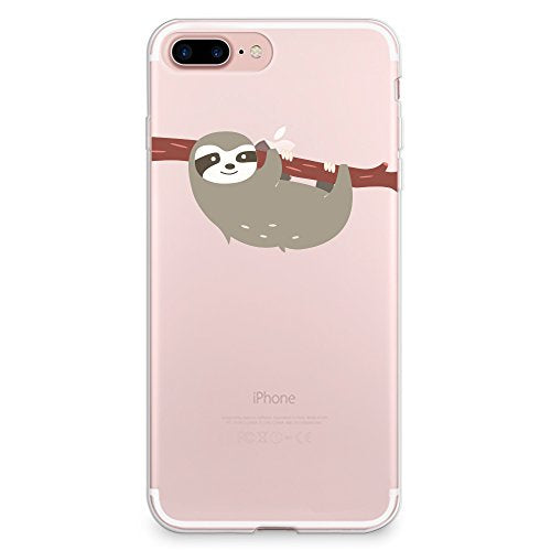 iPhone 8 Plus Case, iPhone 7 Plus Case, CasesByLorraine Cute Sloth Clear Transparent Case Flexible TPU Soft Gel Protective Cover for Apple iPhone 7 Plus & iPhone 8 Plus (A66)