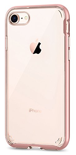 Spigen Neo Hybrid Crystal [2nd Generation] iPhone 8 Case / iPhone 7 Case with Clear Hard Casing and Reinforced Hard Bumper Frame for Apple iPhone 8 (2017) / iPhone 7 (2016) - Rose Gold