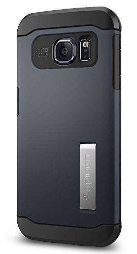 Spigen Slim Armor Galaxy S6 Edge Case with Kickstand and Air Cushion Technology and Hybrid Drop Protection for Galaxy S6 Edge 2015 - Metal Slate