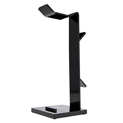 Geekdigg Gaming Headset Headphone Stand Holder with Cable Organizer and Cellphone Stand - Black