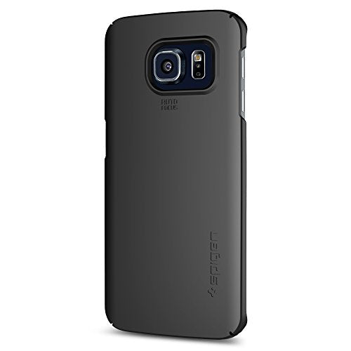Spigen Thin Fit Shell Galaxy S6 Edge Case with SF Coated Non Slip Matte Surface and Full Top and Bottom Coverage for Galaxy S6 Edge 2015 - Smooth Black