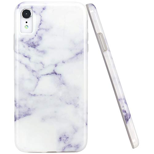 JAHOLAN Compatible iPhone XR Case Purple White Marble Design Clear Bumper Glossy TPU Soft Rubber Silicone Cover Phone Case for iPhone XR 2018 6.1 inch