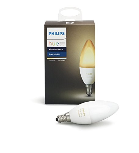 Philips Hue White Ambiance E12 Decorative Candle 40W Equivalent Dimmable LED Smart Light Bulb, Works with Alexa, Apple HomeKit, and Google Assistant