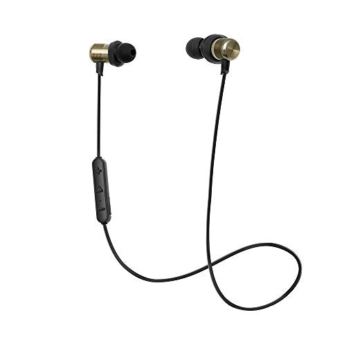MR SoundLab G2 Wireless Bluetooth 4.1 Sweatproof Sports Headphones Lightweight Stereo Earbuds NANO Coating with Metallic Housing & Built-in Mic (Black)