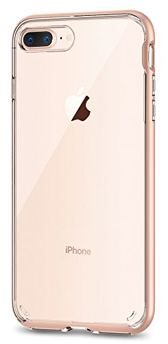 Spigen Neo Hybrid Crystal [2nd Generation] iPhone 8 Plus Case / iPhone 7 Plus Case with Clear Casing and Hard Frame for Apple iPhone 8 Plus (2017) / Apple iPhone 7 Plus (2016) - Blush Gold