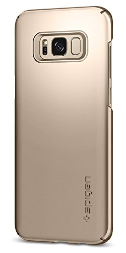 Spigen Thin Fit Galaxy S8 Plus Case with Premium Matte Finish Coating and QNMP Compatible for Galaxy S8 Plus (2017) - Maple Gold
