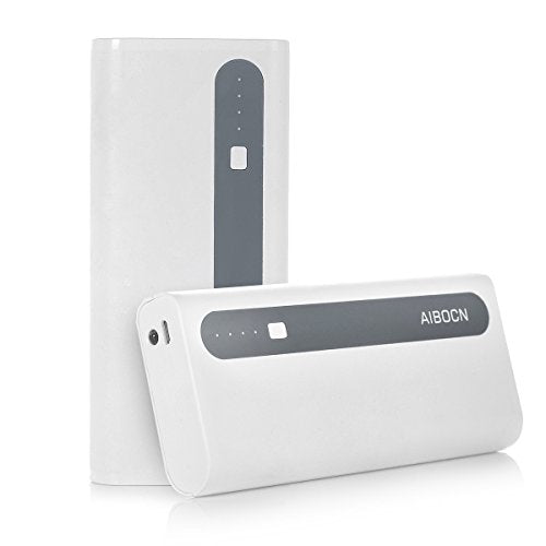 Aibocn 10000mAh Power Bank Portable Charger for Phone Tablet with Flashlight, Grey