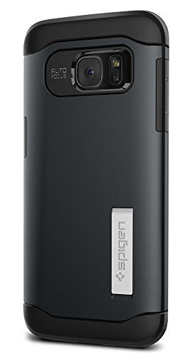 Spigen Slim Armor Galaxy S7 Edge Case with Kickstand and Air Cushion Technology and Hybrid Drop Protection for Samsung Galaxy S7 Edge 2016 - Metal Slate