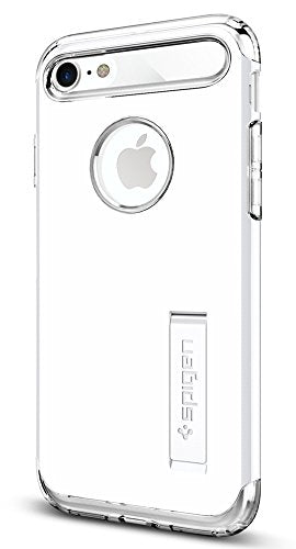 Spigen Slim Armor iPhone 7 / iPhone 8 Case with Kickstand and Air Cushion Technology Hybrid Drop Protection for Apple iPhone 7 (2016) / iPhone 8 (2017) - Jet White