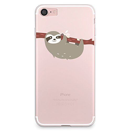 iPhone 8 Case, iPhone 7 Case, CasesByLorraine Cute Sloth Clear Transparent Case Flexible TPU Soft Gel Protective Cover for Apple iPhone 7 & iPhone 8 (A66)