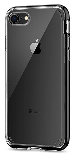 Spigen Neo Hybrid Crystal [2nd Generation] iPhone 8 Case / iPhone 7 Case with Clear Hard Casing and Reinforced Hard Bumper Frame for Apple iPhone 8 (2017) / iPhone 7 (2016) - Jet Black