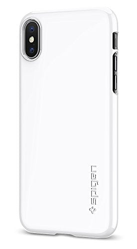 Spigen Thin Fit iPhone X Case with Premium Matte Finish Coating and QNMP Compatible for Apple iPhone X (2017) - Jet White