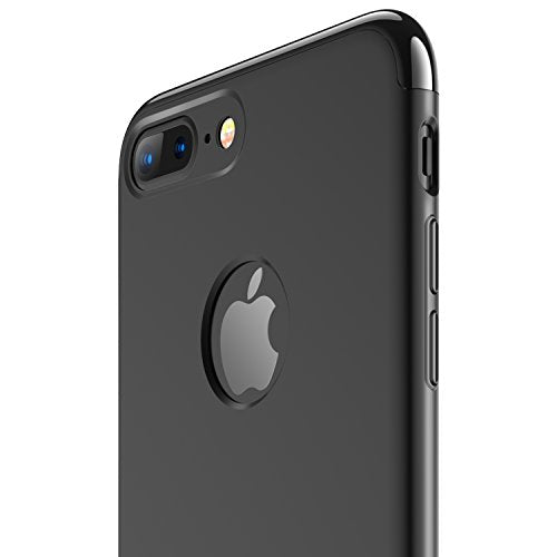 iPhone 7 Plus Case, RANVOO Thin Hard Slim Fit Stylish Cover with 3 Detachable Parts Case for Apple iPhone 7 Plus Only, CHROME JET BLACK and MATTE BLACK [CLIP-ON]