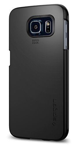 Spigen Thin Fit Galaxy S6 Case with SF Coated Non Slip Matte Surface Thin Case for Samsung Galaxy S6 2015 - Smooth Black