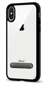 Spigen Ultra Hybrid S iPhone X Case with Air Cushion Technology and Magnetic Metal Kickstand for Apple iPhone X (2017) - Jet Black