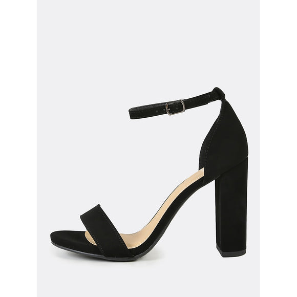 Open Toe Dressy Sandal with Thin Ankle Cuff BLACK