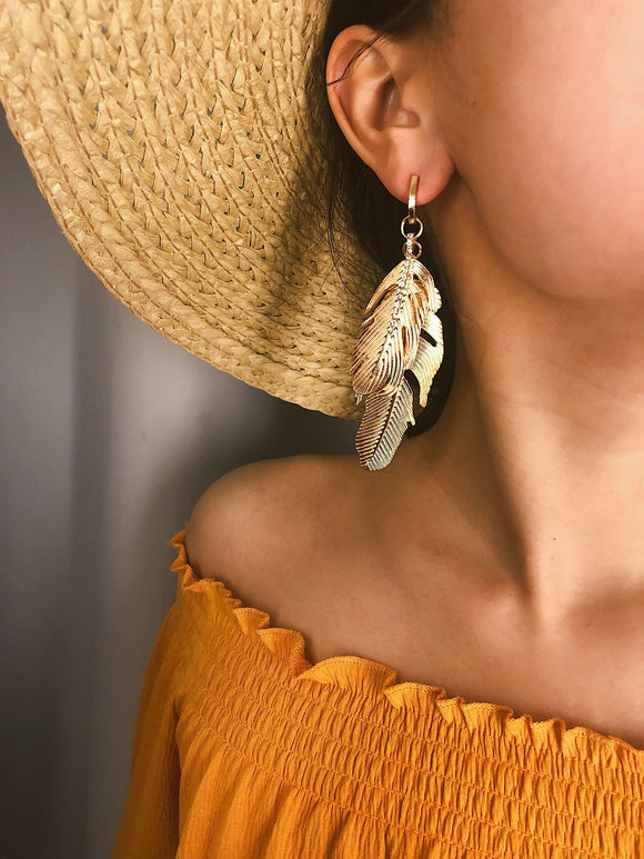 Double Feather Shaped Drop Earrings 1pair