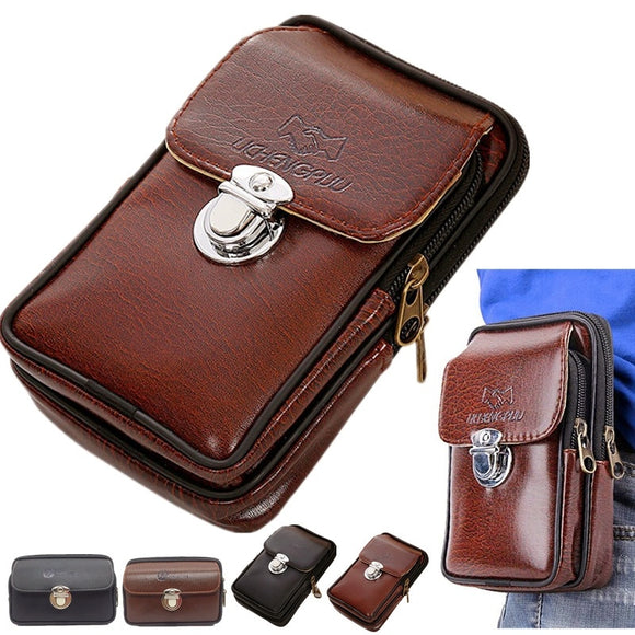 Men Fashion Leather Fanny Pack Wasit Bag Cell Mobile Phone Belt Pouch Vintage Coin Purse