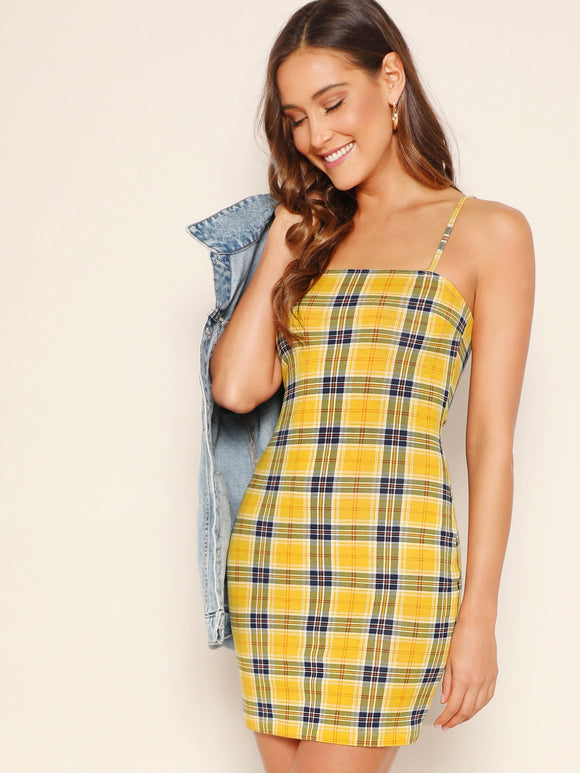 Plaid Bodycon Cami Dress