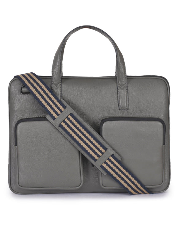 Phive Rivers Men's Leather Grey Laptop Bag