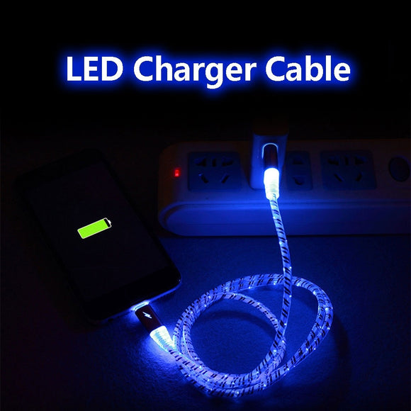 luminous Blue Light Cool Led Light Quick USB Charging Data Cable/câble de charge/Ladekabel For Android/iPhone/Type-c/Sumsung/ Mo