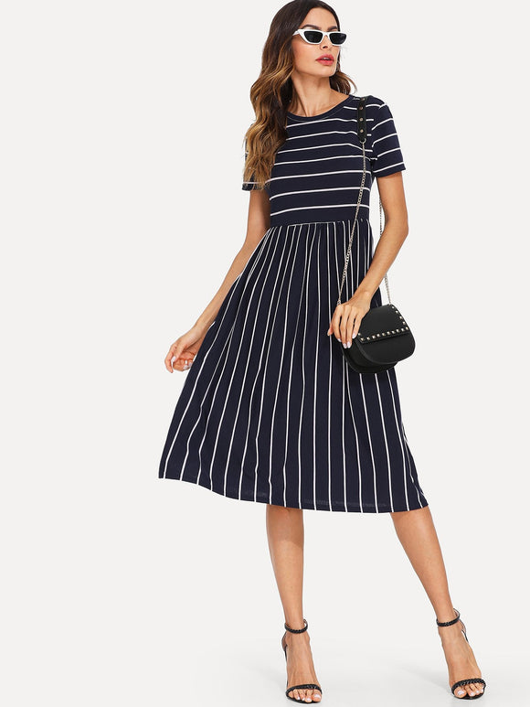 Mixed Stripe Midi Smock Dress