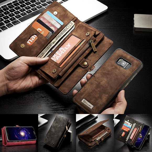 Multifunctional Detachable Zipper Wallet Leather Card Slot Case For Samsung Galaxy S9 / S9 Plus / Note 8 / S8 / S8 Plus / S7 /