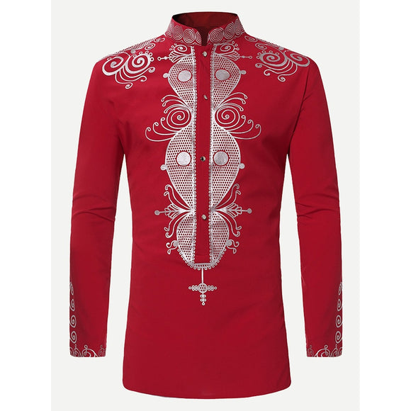 Men Ornate Print Long Blouse