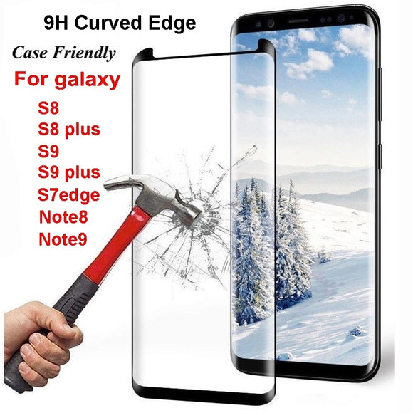 9H Curved Edge Screen Tempered Glass Protector for Samsung Galaxy S8 /S8 Plus /S9 /S9 Plus/ Note8/ Note9 /S7 Edge