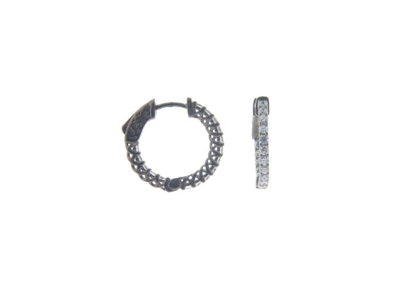 Small Gunmetal Inside Out Hoop Earrings