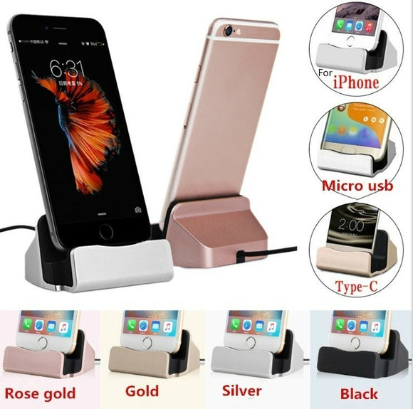 Charging Base Dock Station For IPhone X 8 7 6 USB Cable Sync Cradle Charger Base For Android Type C Samsung Stand Holder