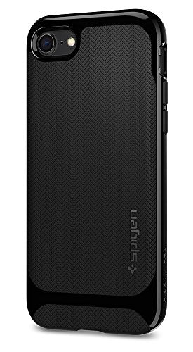 Spigen Neo Hybrid Herringbone iPhone 8 Case / iPhone 7 Case with Flexible Inner Protection and Reinforced Hard Bumper Frame for Apple iPhone 8 (2017) / iPhone 7 (2016) - Shiny Black