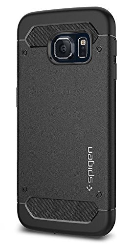 Spigen Rugged Armor Galaxy S6 Edge Case with Resilient Shock Absorption and Carbon Fiber Design for Galaxy S6 Edge 2015 - Black