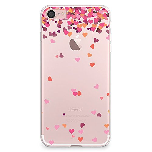 iPhone 8 Case, iPhone 7 Case, CasesByLorraine Little Pink Hearts Clear Transparent Case Flexible TPU Soft Gel Protective Cover for Apple iPhone 7 & iPhone 8 (A17)