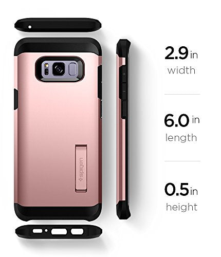 new concept b6546 63ef9 Spigen Tough Armor Galaxy S8 Case with Kickstand and Extreme Heavy Duty  Protection and Air Cushion Technology for Samsung Galaxy S8 (2017) - Rose  Gold