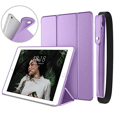 DTTO New iPad 9.7 Inch 2018/2017 Case with Apple Pencil Holder, Ultra Slim Smart Case with Trifold Stand and Soft TPU Back Cover for Apple iPad 5th / 6th Generation [Auto Sleep/Wake] - Purple