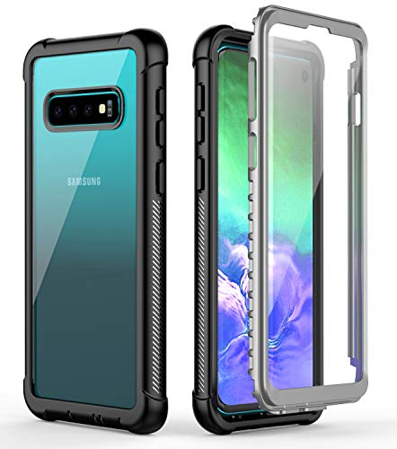Samsung Galaxy S10 Case, SNOWFOX Heavy Duty Protection with Built-in Screen Protector Shockproof Case Cover for Samsung Galaxy S10 6.1 inch (2019 Release) - Black/clear