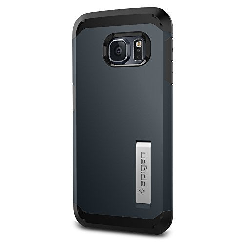 Spigen Tough Armor Galaxy S6 Edge Case with Kickstand and Extreme Heavy Duty Protection and Air Cushion Technology for Galaxy S6 Edge 2015 - Metal Slate
