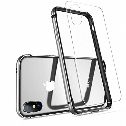iPhone X Case, iPhone 10 Case,HUMIXX [Extre Series] Aluminum TPU Hybrid Shockproof Bumper Case for iPhone X (Include Clear Back Screen Protector)-Silver