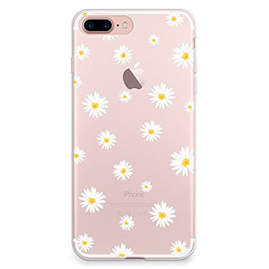 timeless design 6a88b 846c9 iPhone 8 Plus Case, iPhone 7 Plus Case, CasesByLorraine Cute Daisy Floral  Flowers Clear Transparent Case Flexible TPU Soft Gel Protective Cover for  ...