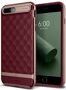 iPhone 8 Plus Case / iPhone 7 Plus Case Caseology [Parallax Series] Slim Protective Dual Layer Cover Geometric Design for Apple iPhone 8 Plus (2017) / iPhone 7 Plus (2016) - Burgundy / Rose Gold