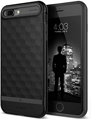 iPhone 7 Plus Case / iPhone 8 Plus Case, Caseology [Parallax Series] Slim Protective Textured Geometric Cover Drop Protection for Apple iPhone 7 Plus (2016) / iPhone 8 Plus (2017) - Matte Black